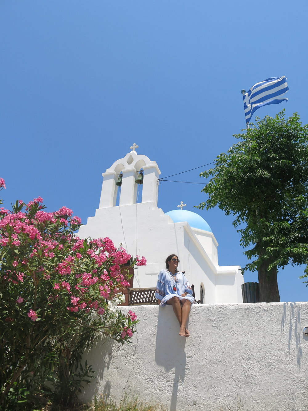White church, Bougainvillea and blue sky: what else?
