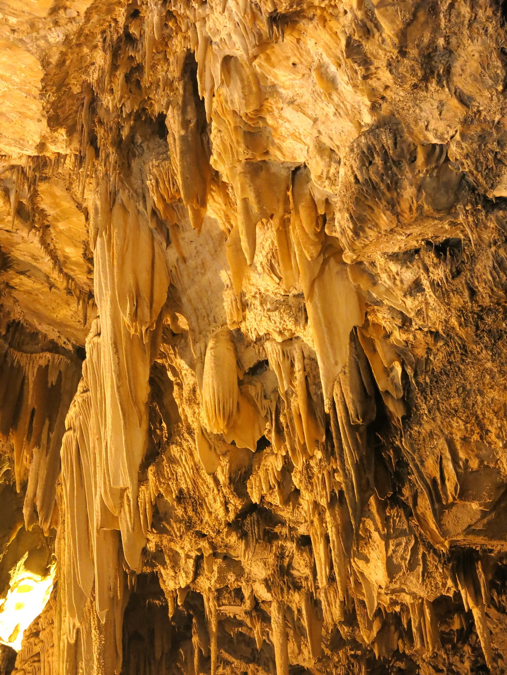 Stalactite formations deep inside the caves of Antiparos