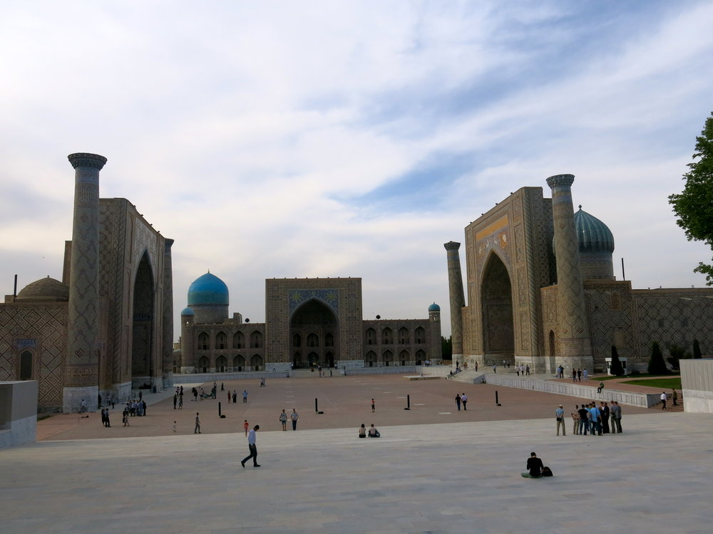 View of the Registan and its three madrasas