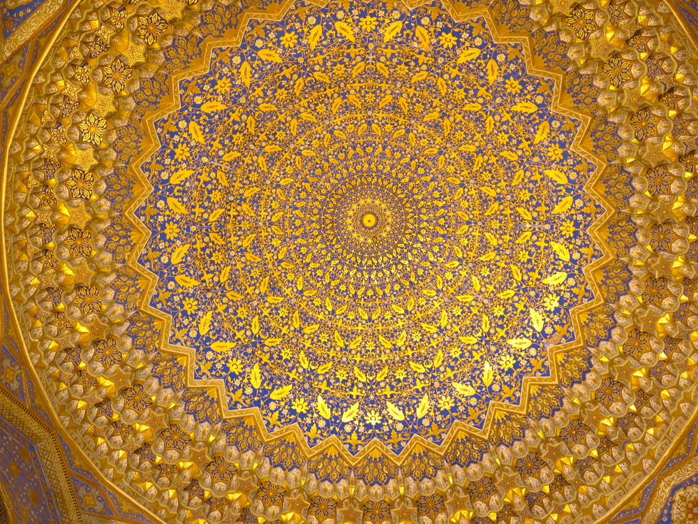 The golden ceiling of the mosque within Tilla-Kari madrasa
