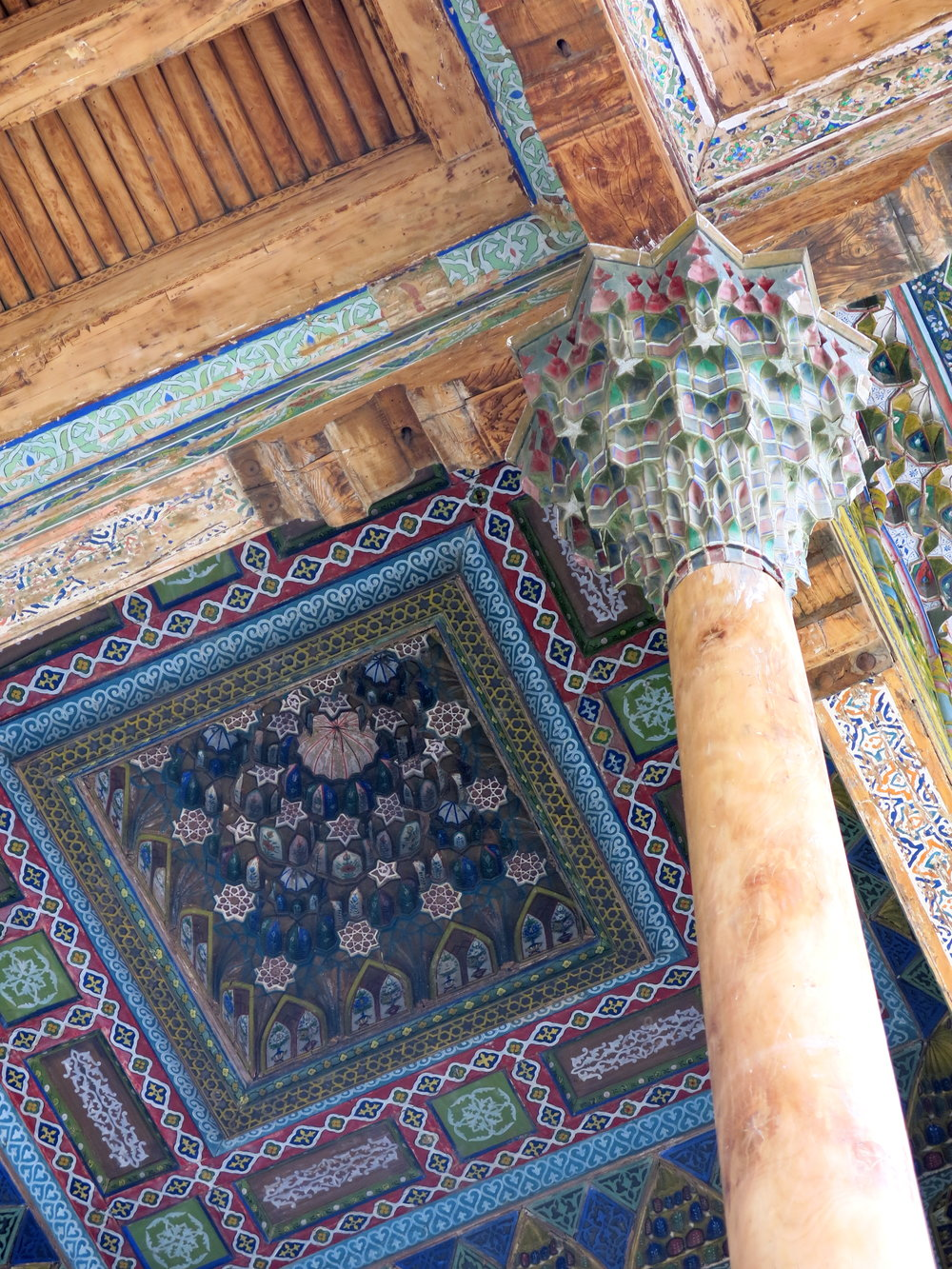 The honeycomb vaulting on the pillar and ceiling are called muqarnas