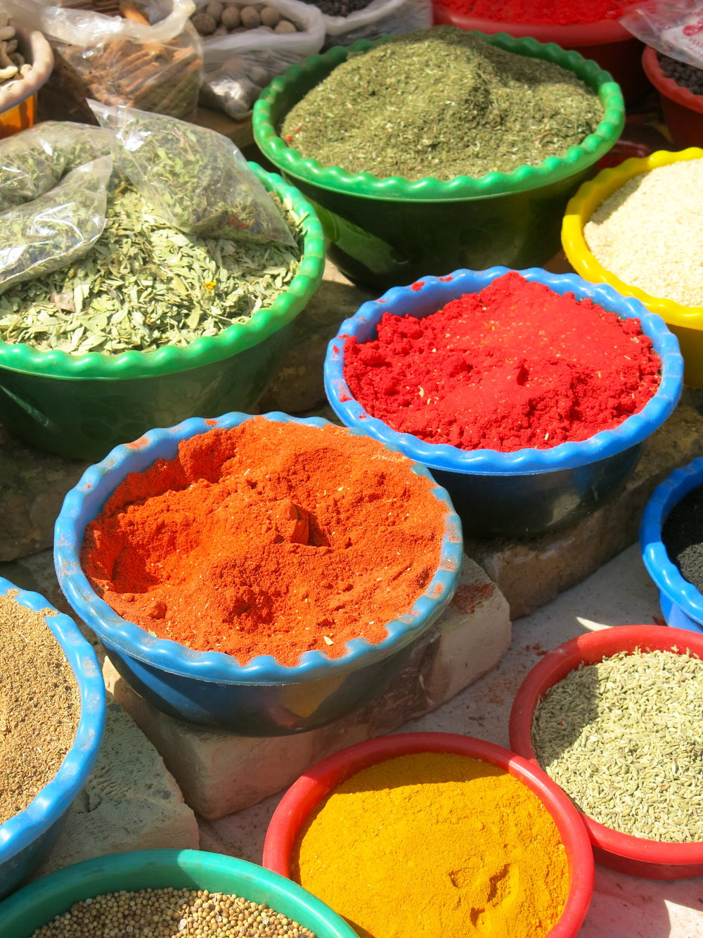 Colorful spices in the trading domes of Bhukara