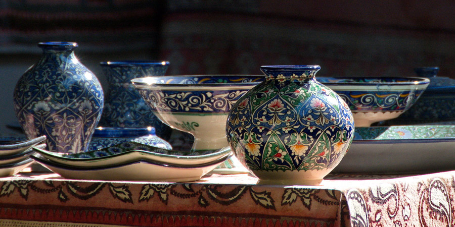 Beautiful colorful ceramics from Rishtan