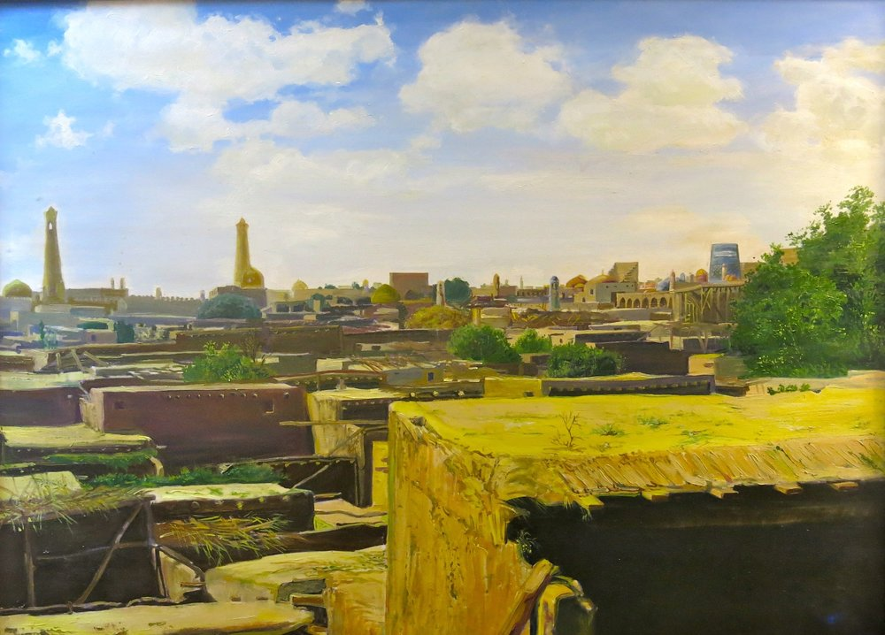 A painting of Khiva in the room of our hotel in Tashkent