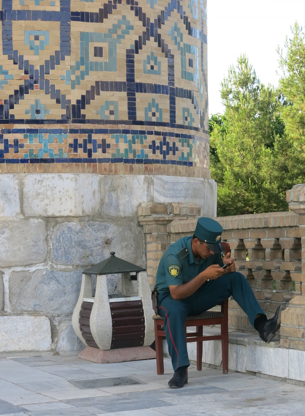 A policeman on duty at the Registan, Samarkand