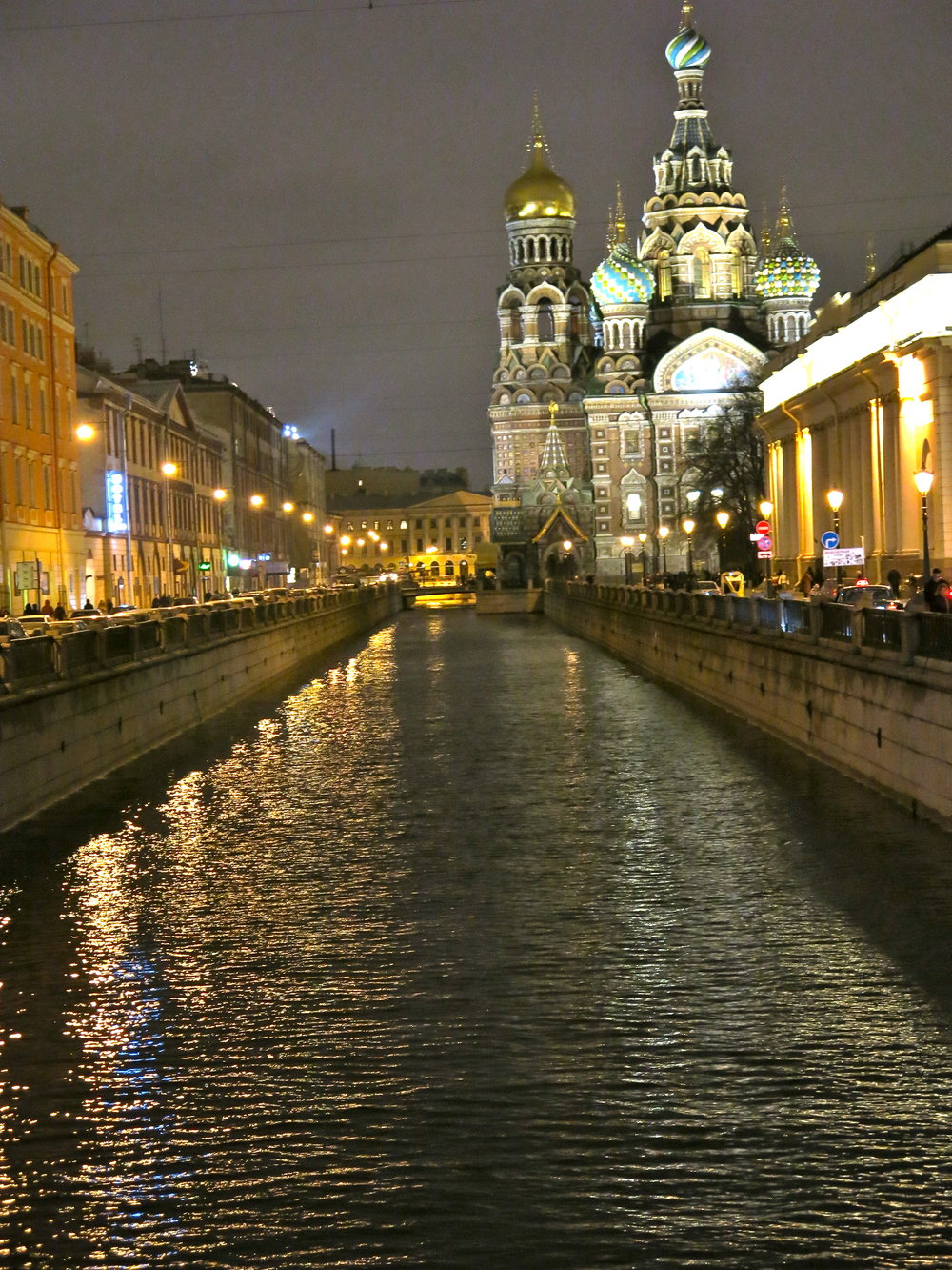 Same view from the Griboedov canal at night