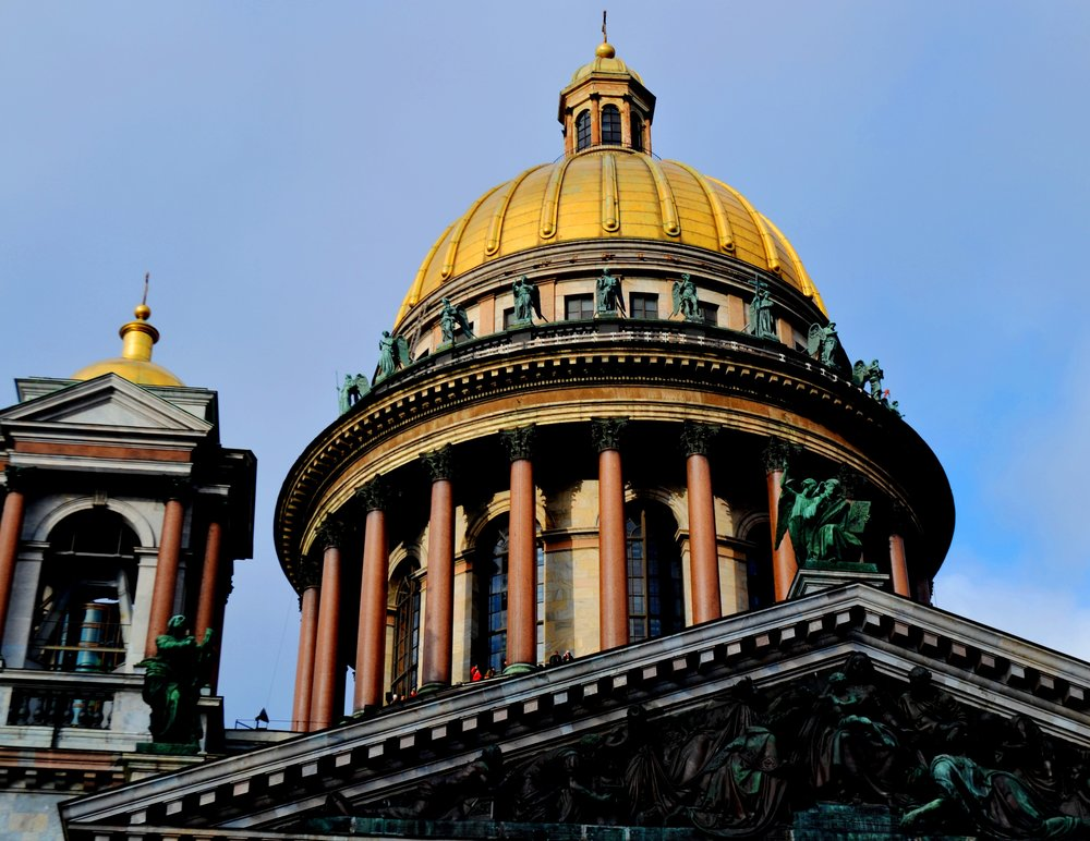 The central dome of Saint-Isaac is plated with pure gold