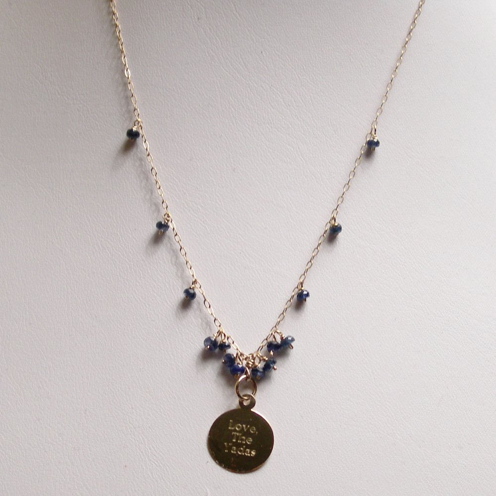 Custom Engraved Necklace - 14kt coin wtih sapphire stones.JPG