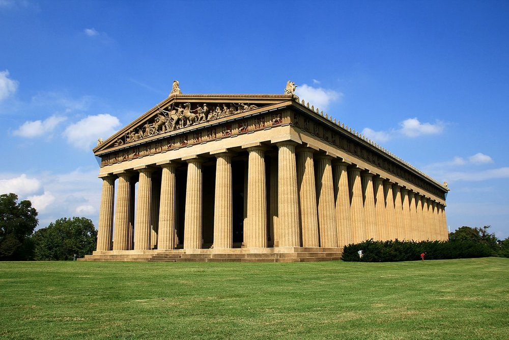 "the parthenon - ""Originally built for Tennessee's 1897 Centennial Exposition, this replica of the Parthenon in Athens, Greece serves as a monument to what is considered the pinnacle of classical architecture. The re-creation of the 42-foot statue Athena is the focus of the Parthenon just as it was in ancient Greece."""