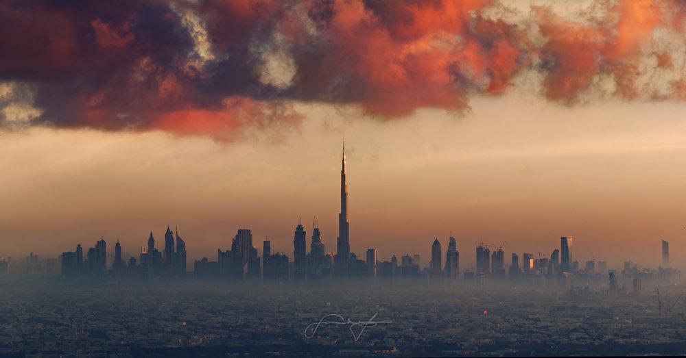 Scarlet clouds