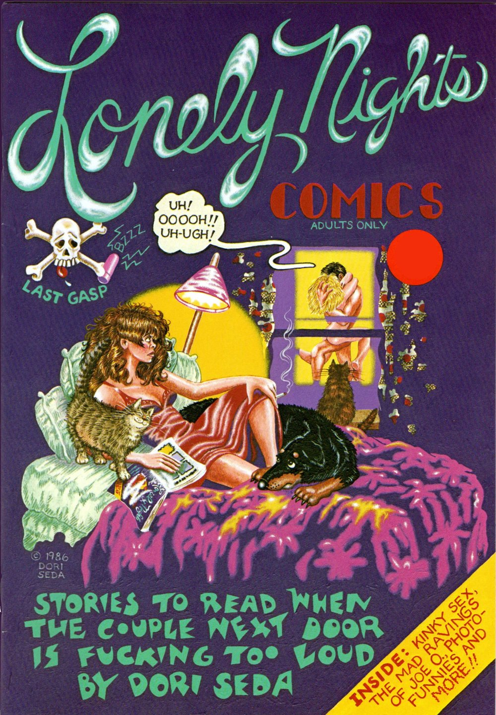 Vintage autobio comix by inimitable cult hero Dori Seda.  Lonely Nights  was the only solo comic published in her lifetime.