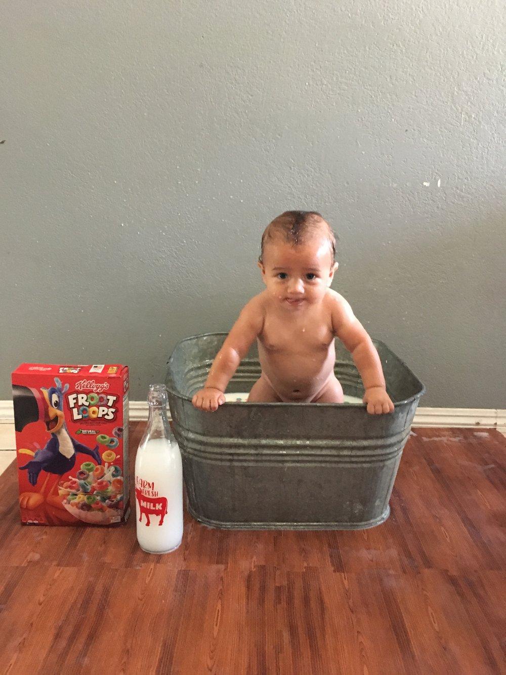 6 month DIY milk bath photoshoot