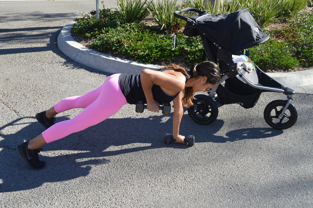 1b. Renegade rows (end)   While holding that plank, pull that weight toward your armpit, squeeze that shoulder blade towards your spine.  * try not to shift your weight side to side. squeeze those abs and try to keep those hips pointing towards the floor.