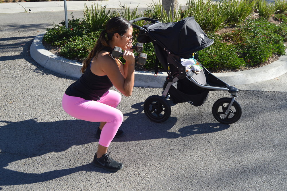 2a. Squat & press (start)   Hold those weights at your shoulders keep your chest up, core tight and squat down.  * focus on keeping the weight in your heels & your chest upright.