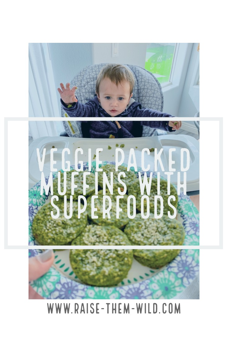 Veggie packed muffins with superfoods. A healthy recipe for mom and baby!