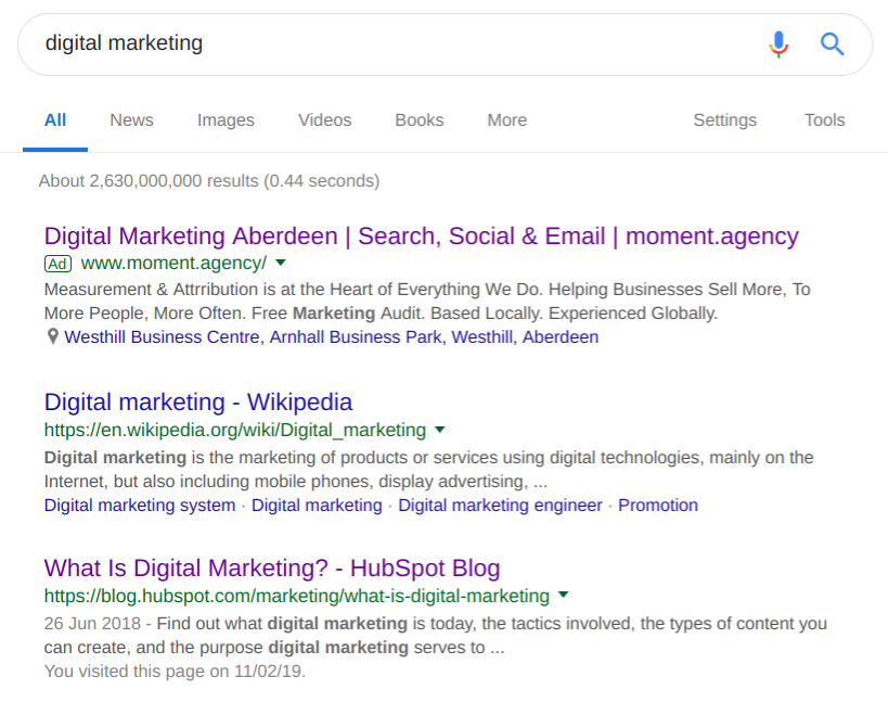 "A Paid Search (PPC) ""text advert"" on a Search Engine Results Page (SERP)."