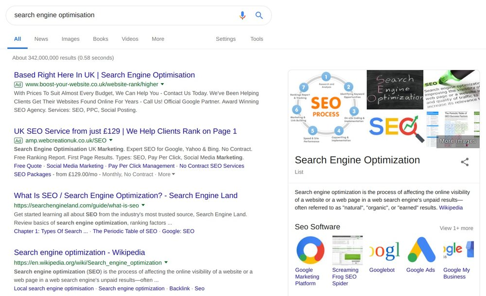 A Search Engine Results Page (SERP) with paid and organic placements.