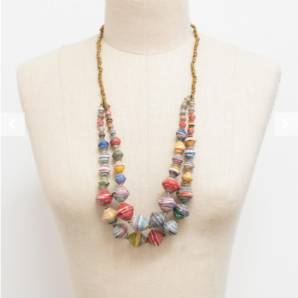 """The Voyager"" handmade paper bead necklace - $44"