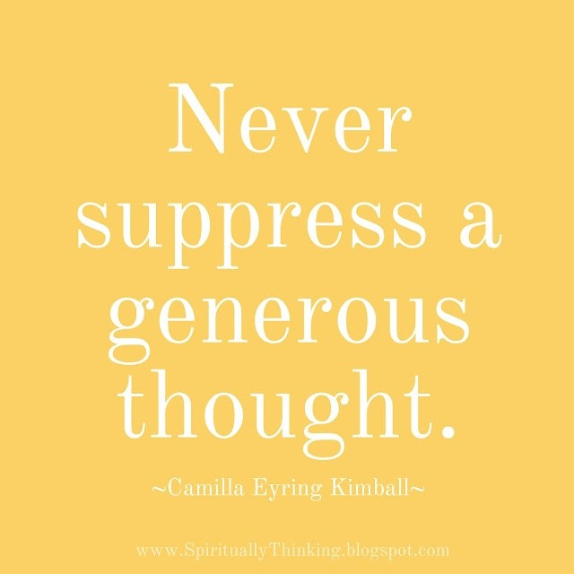 """Never suppress a generous thought."" -Camilla Eyring Kimball ⁣ Anytime you can give someone the benefit of the doubt and be spiritually generous, you should do so. A friend in my life has really made this practice a habit, and it always inspires me. ⁣ #inspires #generous #generosity #kindness #benevolence #benevolencetribe #compassion #bekind #kindnessmatters #boss #bossbabe #sanantonio #nonprofitconsultant #satx #womeninbusiness #womenentrepreneurs #businesswoman #ladyboss #nonprofit #fundraising #benefitofthedoubt #dogood #philanthropy #giveback"