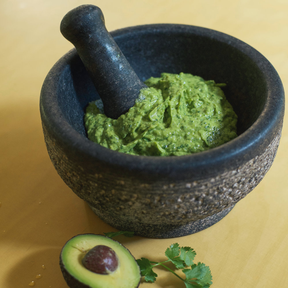 GUACAMOLE - In food processor blend 1/4 medium onion, 3 small or 2 large ripe avocados, top half of organic cilantro bunch, fresh juice of 1/2 lemon, 2-3 tsp sea salt.