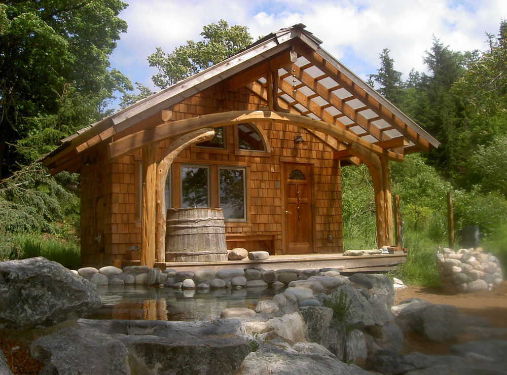 Hot tub and sauna at a recent 4 day retreat on Orcas Island, WA.