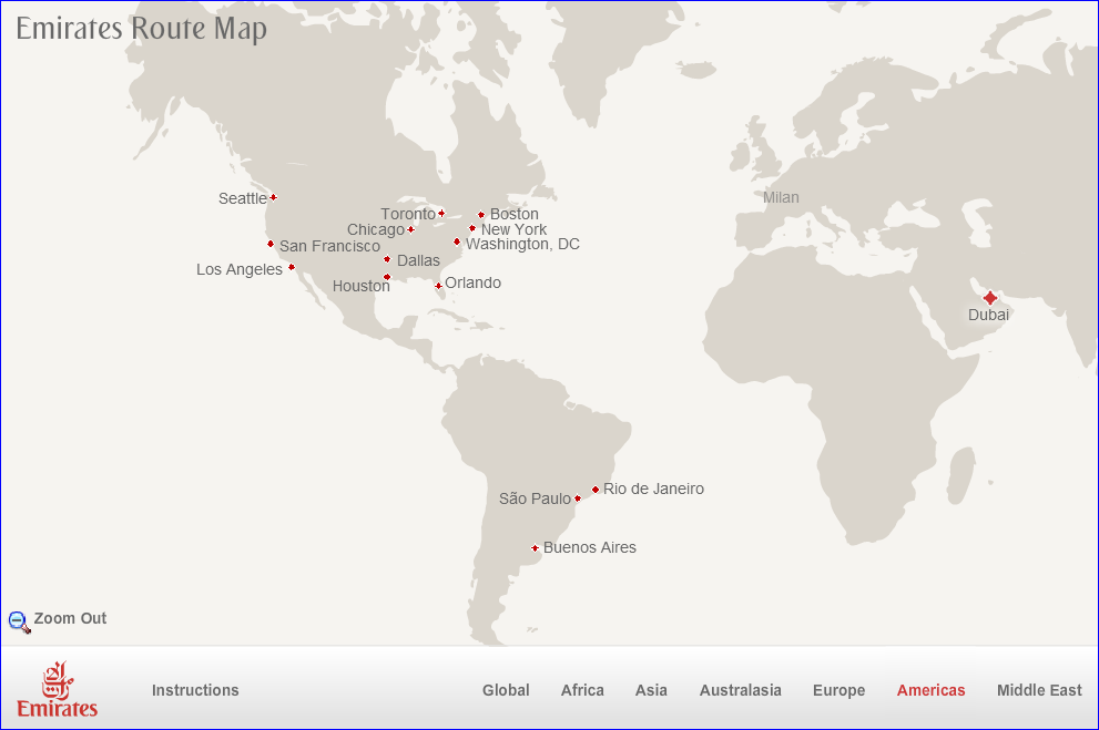 Emirates U.S. Route Map
