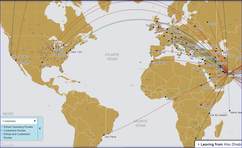 Etihad Route Map