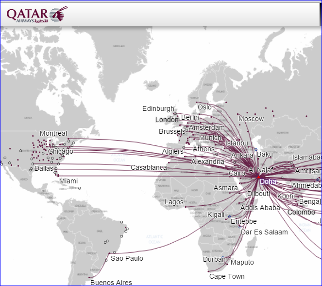 Qatar Airways U.S. Route Map