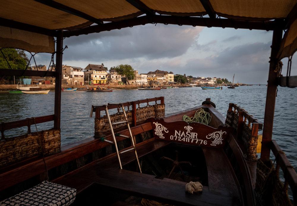 Approaching Lamu, Kenya aboard the Nasir