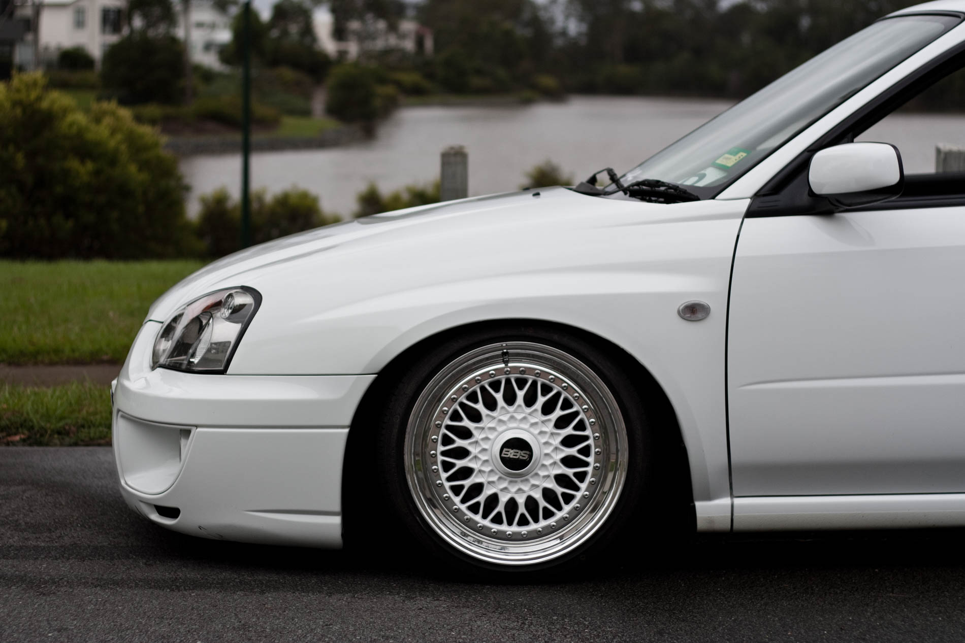 Alex's Albino Subie Fitted Fresh On BBS (6)