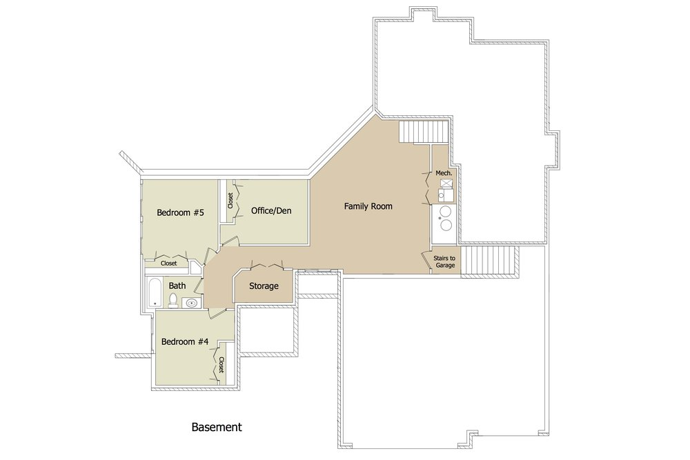 "Larger Riverdale FLEX BSMT Plan ""Angle House"" by JL"