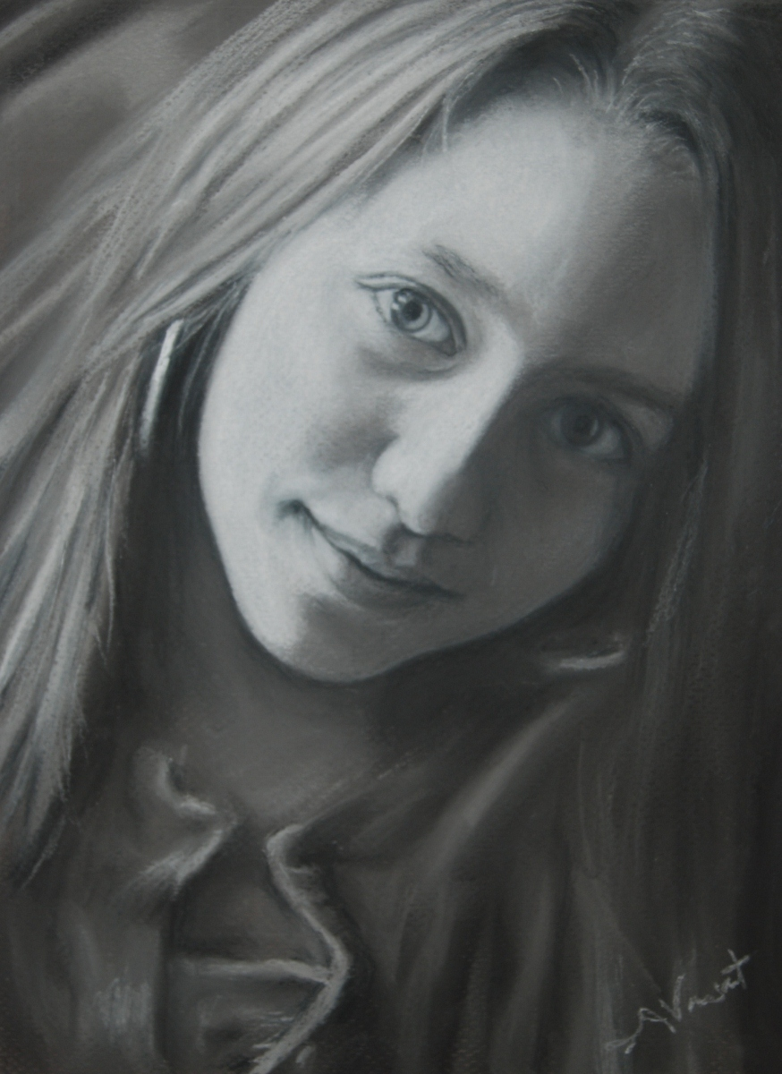 Black and white pastel portrait