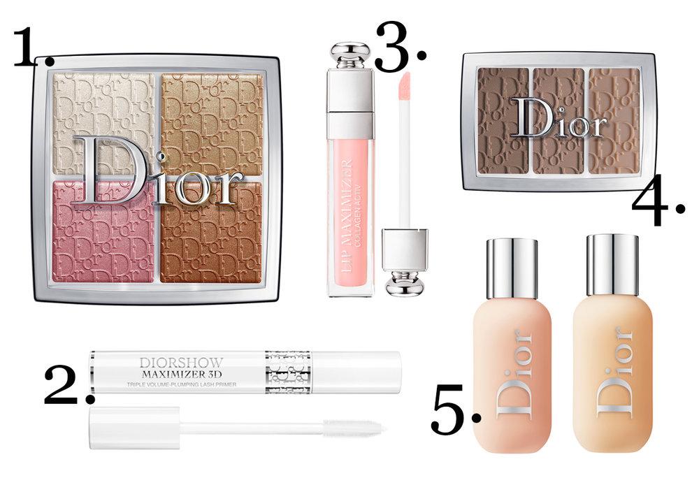 CLICK TO BUY : 1. Dior Backstage Glow Face Palette, $76 ;2.  Dior Backstage Diorshow Maximiser 3D, $56;  3. Dior Addict Dior Backstage Lip Maximiser, $49;  4. Dior Backstage EyeBrow Palette, $69 ;  5. Dior Backstage Face & Body Foundation, $70