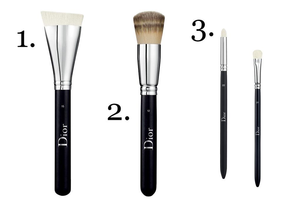CLICK TO BUY:   Dior Backstage Contour Brush #15, $62 ;  Dior Backstage Full Coverage Foundation Brush, $79;   Dior Backstage Eyeshadow Brush # 22, $48 ;  Dior Backstage Eyeshadow Brush #21, $48
