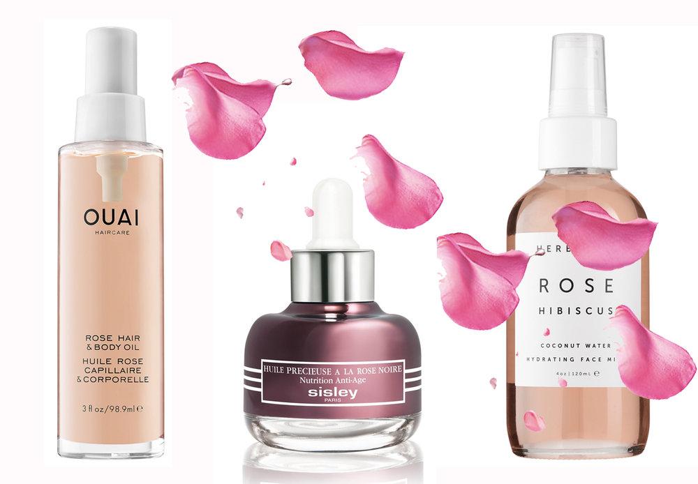 CLICK TO BUY:   Ouai Rose Hair & Body Oil, $50 from Sephora;   Sisley Black Rose Precious Face Oil, $260;     Herbivore Botanicals Rose Hibiscus Hyrdrating Spray, $22 from Sephora;