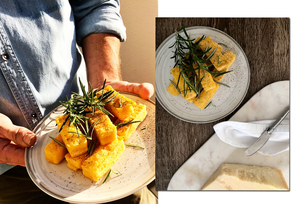 THESE are my BUY of the season.  Everyone loves them. Everyone.  Ten minutes straight from the freezer and they're good to go. I pile them in a stack (like Jenga) and cover with fresh rosemary.   CLICK TO BUY:   Woolworths Polenta & Parmesan Chips, $5
