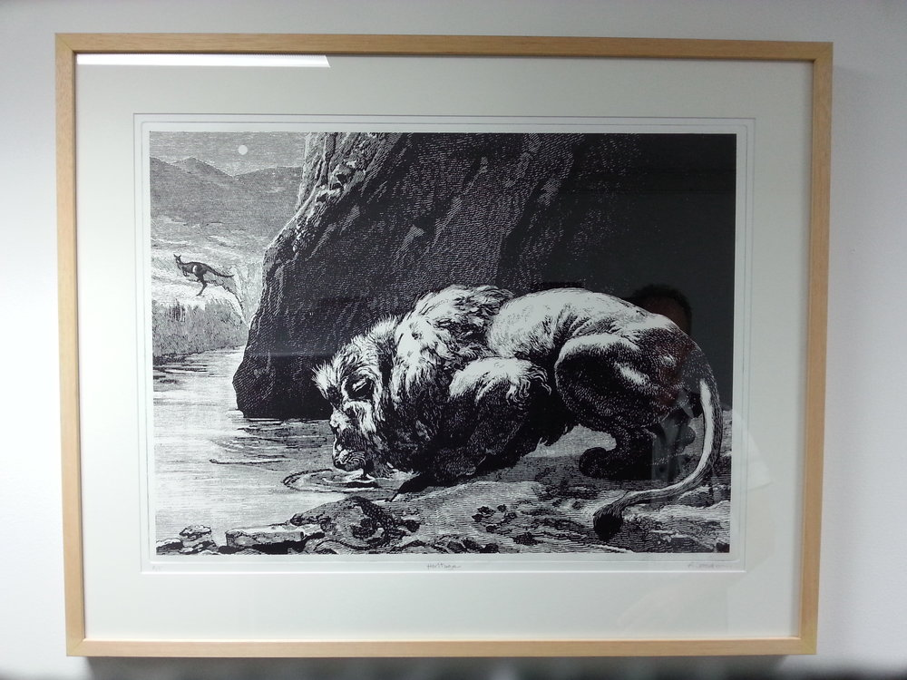 Ross Woodrow  Heritage  etching and aquatint c.50 x 80 cm.