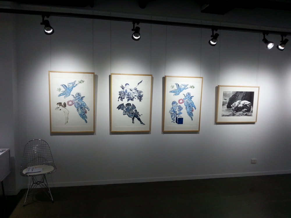 Installation view, shaped plate etchings with aquatint and etching on zinc.