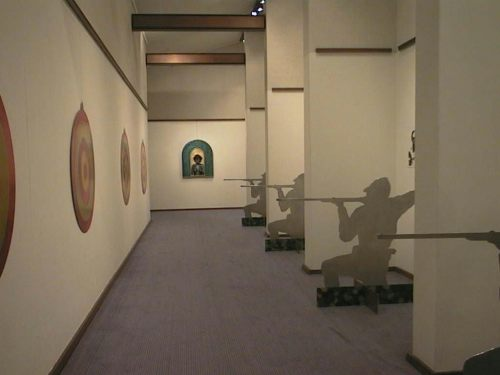 The back corridor of the gallery featured works by Ross Woodrow that had been originally presented in his 1996 exhibition   Bush Burial  .