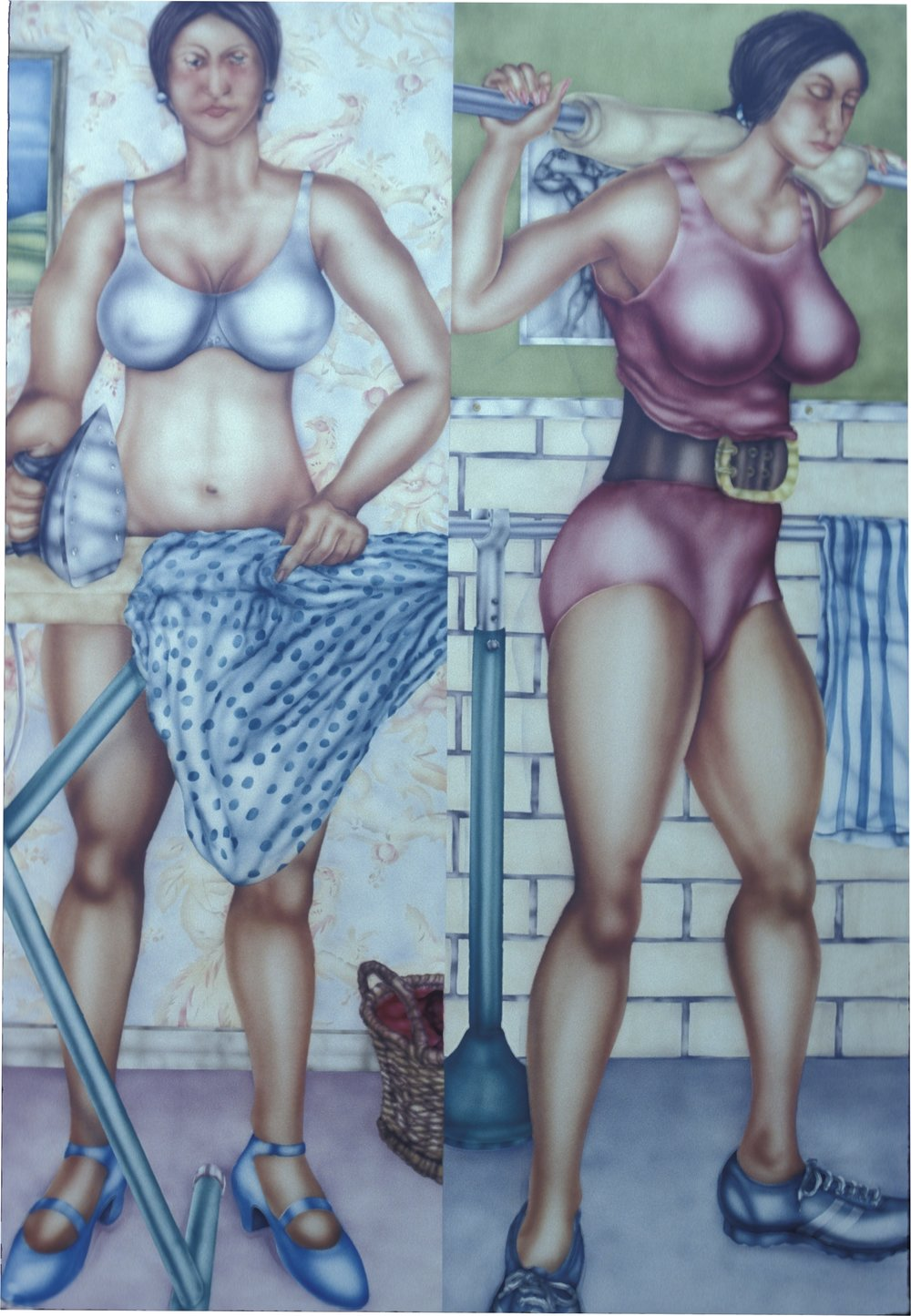 Sisters,  1983  enamel on marine wood c. 180 x 120 cm. (private collection Brisbane)