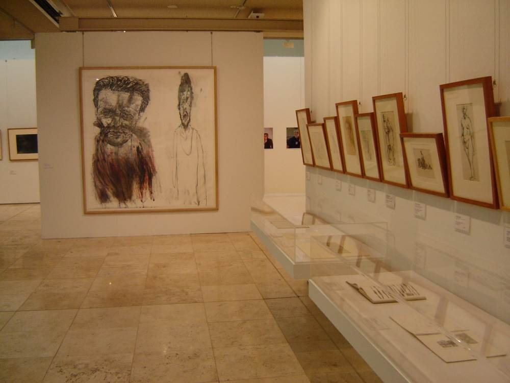 Installation view (main wall Mike Parr)