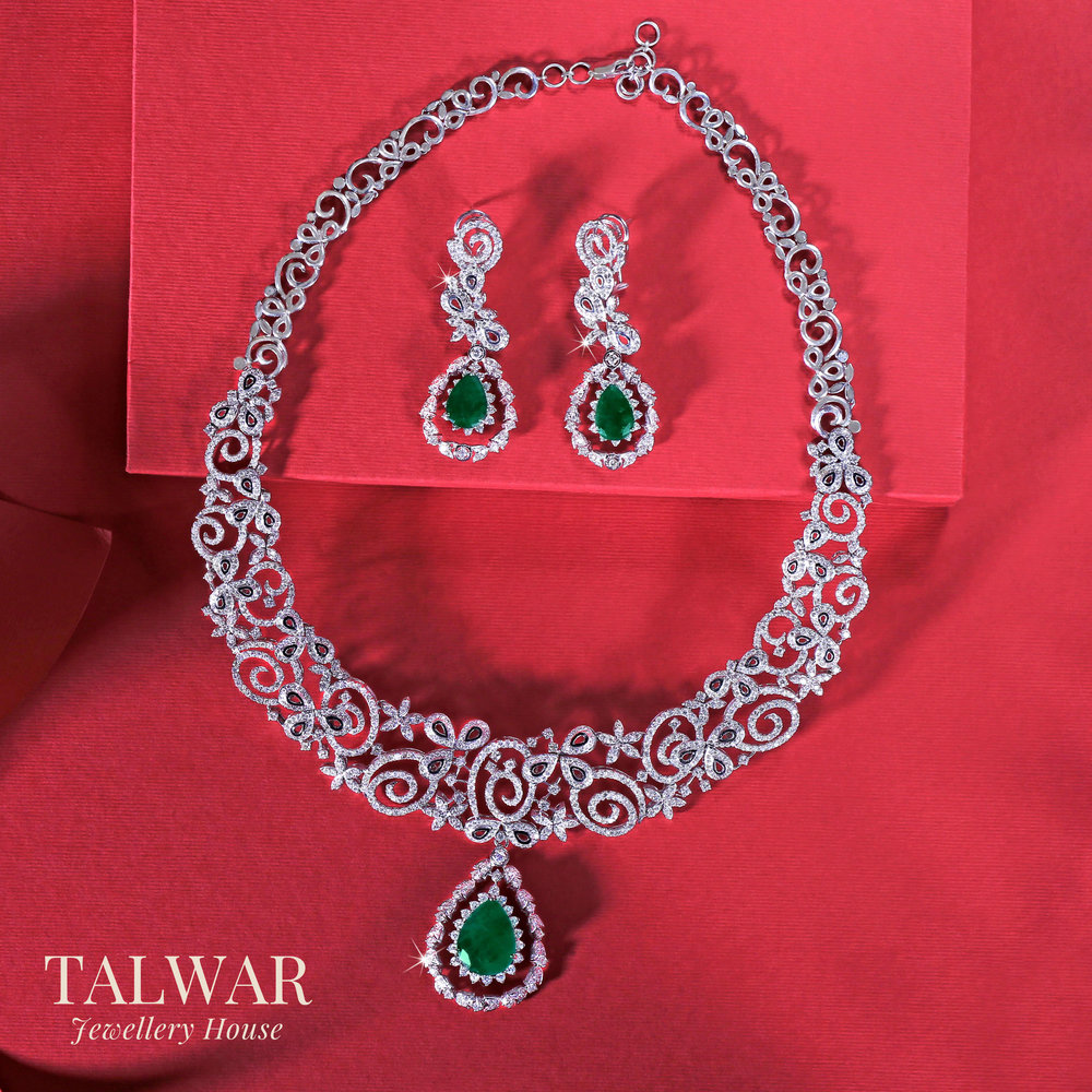 Diamond and Changeable Emerald Necklace