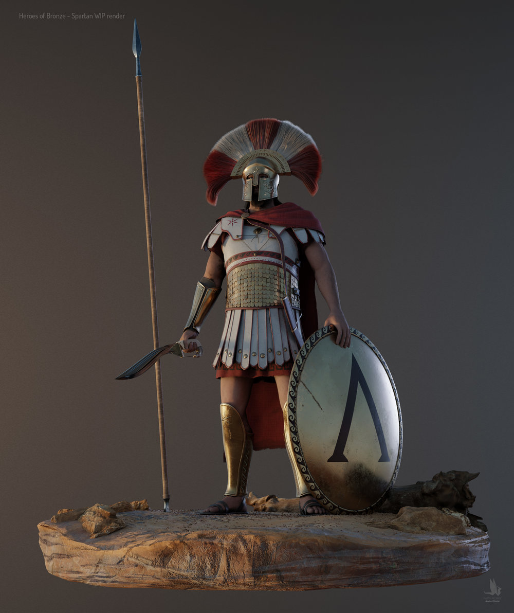 A Spartan warrior, the first production ready character of the whole project.