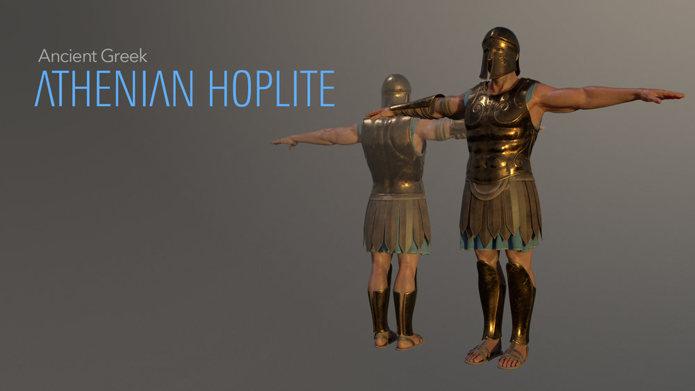 This is a 3D model of a regular Athenian ancient Greek hoplite, without the rig. It was created in Blender 2.8, textured in Substance Painter, the characer base model generated in FUSE CC.
