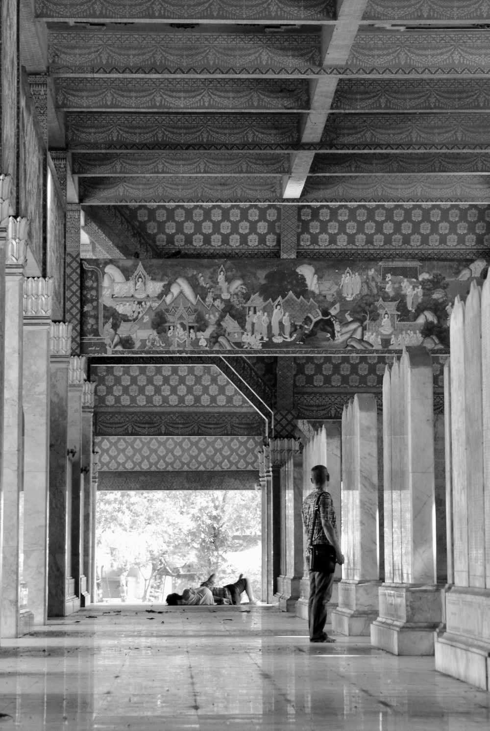 Marble Pali Canon Temple. The man standing is Nay's father.