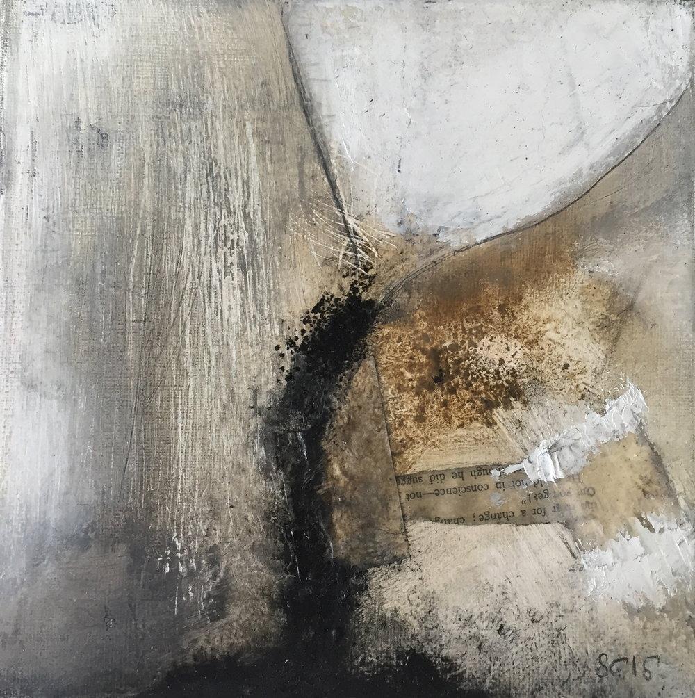 Huile sur toile, collage - 25X25
