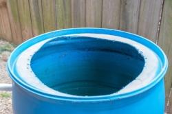 A garden rain barrel with no lid makes a terrific mosquito nursery.