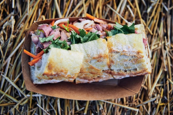 Lamb banh mi at Lambstock (photo by Fred Turkow)