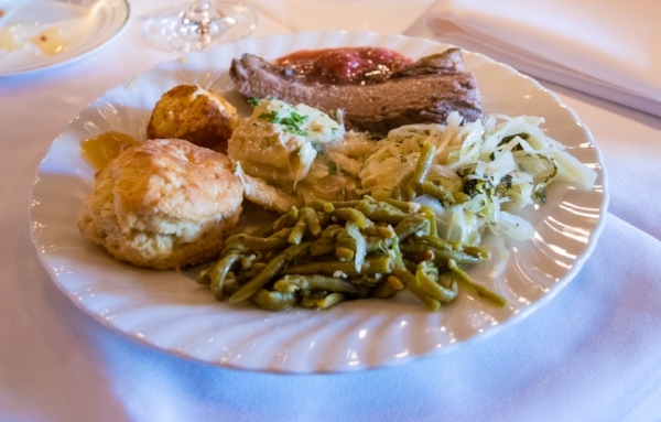 A southern food plate from chef Edna Lewis recipes.