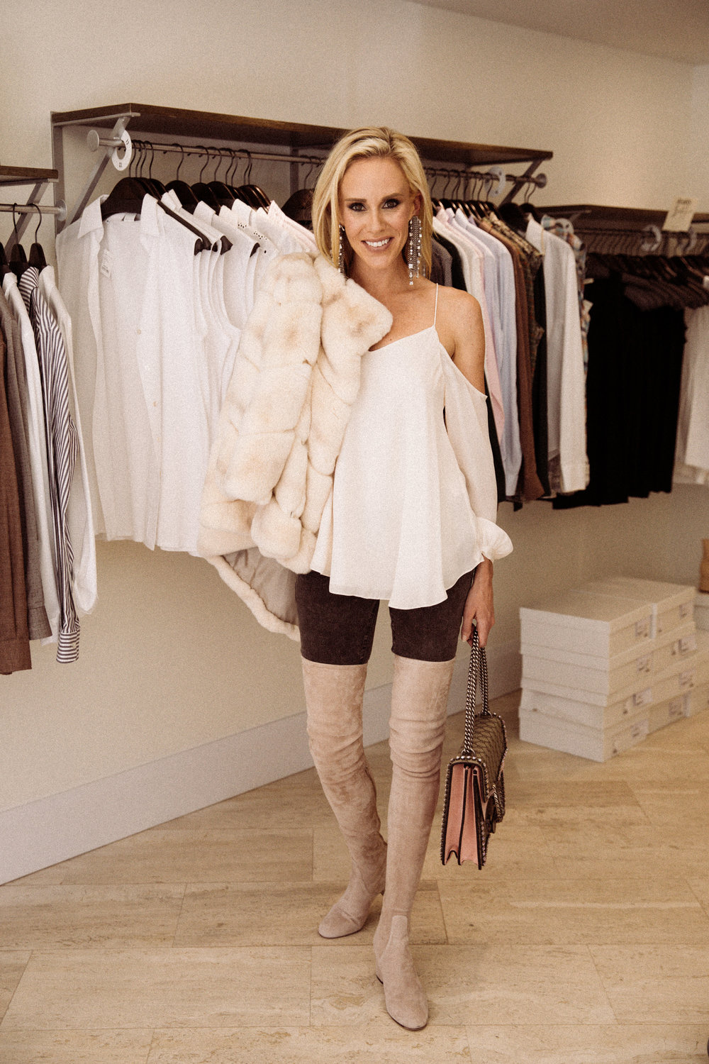 - Because I for one, know I am so excited about WORKING my over the knee suede boots, western mid calf boots, and off white kitten heeled booties when that thermometer gets below 70 degrees.